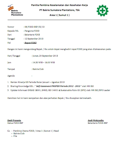 Contoh Surat P2K3